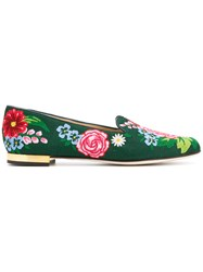 Charlotte Olympia Floral Loafers Leather Canvas Green