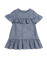 Kate Spade Chambray Polka Dot Ruffle Trim Dress Blue