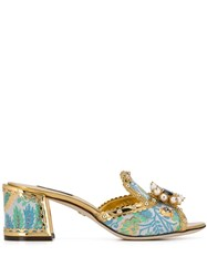 Dolce And Gabbana Crystal Embellished Mules Gold