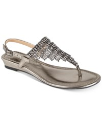 Thalia Sodi Ivorie Jewled Wedge Sandals Created For Macy's Women's Shoes Pewter