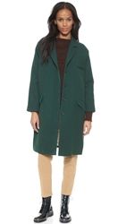 Giada Forte Knee Length Coat With Collar Green