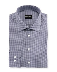 Giorgio Armani Micro Gingham Long Sleeve Dress Shirt Navy