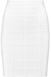Herve Leger Bandage Mini Pencil Skirt White