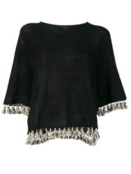 Antonelli Fringed Knitted Top Black