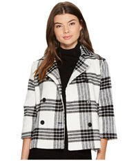 Bb Dakota Henny Buffalo Plaid Wool Like Jacket Ivory Women's Coat White