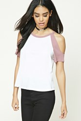 Forever 21 Open Shoulder Baseball Tee White Mauve