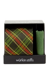 Wurkin Stiffs Plaid Tie And Pocket Square Set Green