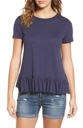 Hinge Women's Cross Back Ruffle Tee Navy Dusk
