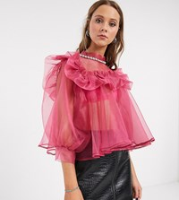 Sister Jane Oversized Blouse With Embellished Collar And Puff Sleeves In Organza Pink
