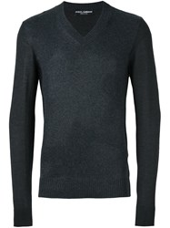Dolce And Gabbana V Neck Jumper Grey
