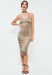 Missguided Nude Plunge Silky Midi Dress Chocolate