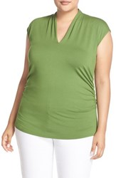 Vince Camuto Plus Size Women's Pleat V Neck Knit Top Summer Green