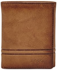 Fossil Men's Watts Leather Trifold Wallet Cognac