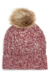 Sole Society Cable Knit Beanie With Faux Fur Pom Red Oxblood