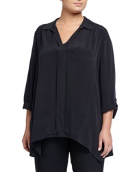 Go Silk V Neck Dolman Sleeve Blouse Black