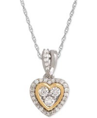 Macy's Diamond Mini Heart Pendant Necklace 1 10 Ct. T.W. In Sterling Silver And 14K Gold Two Tone