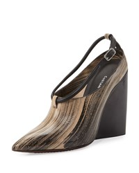 Cnc Costume National Pointed Toe Wedge Bootie Brown Black