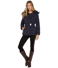 Cole Haan Down Peacoat With Removable Hood Blazer Blue Women's Coat