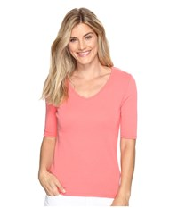 Lilla P Elbow Sleeve V Neck Punch Women's Clothing Pink