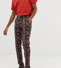 Heart And Dagger Skinny Suit Trousers In Tapestry Multi