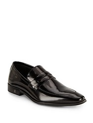 Versace Patent Leather Penny Loafers Black