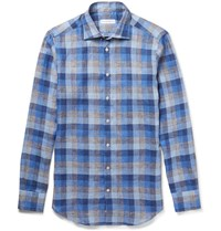 Etro Mercurino Slim Fit Checked Linen Shirt Blue