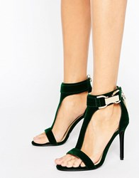 Forever Unique Marchella T Bar Heeled Sandal Emerald Green