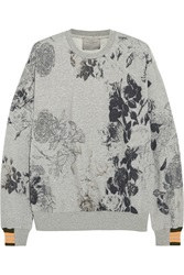 Preen Floral Print Cotton Blend Jersey Sweatshirt Gray