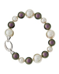 Majorica Two Tone Pearl Bracelet White Gray