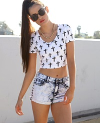 Forever 21 Studded Bleached Denim Shorts Denim Washed