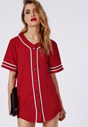 Missguided Bad Gal Button Through Boyfriend Baseball Jersey Tee Red