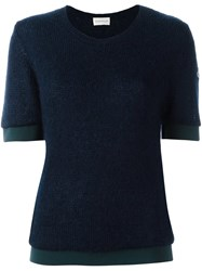 Moncler Short Sleeve Knitted Top Blue