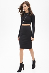 Forever 21 Crosshatch Knee Length Skirt