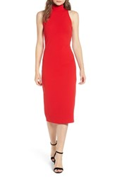 Leith Mock Neck Body Con Dress Red Chinoise