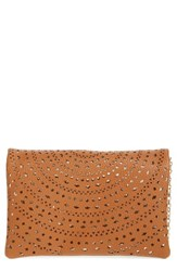 Street Level Perforated Faux Leather Crossbody Bag Brown Tan