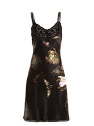Morpho Luna Paris Floral Print Silk Satin Slip Black Multi