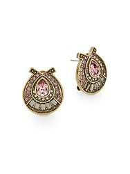 Heidi Daus Photo Finish Swarovski Crystal Earrings Goldtone Pink