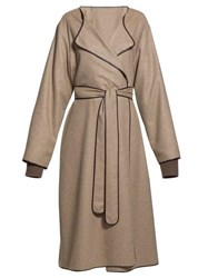 The Row Helga Belted Leather Trim Felt Coat Light Brown