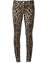 Roberto Cavalli Leopard Print Skinny Jeans Nude And Neutrals
