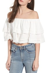 Somedays Lovin Sliding Currents Off The Shoulder Ruffle Top Off White