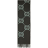 Gucci Grey And Blue Wool Tartan Gg Scarf