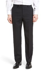 Berle Men's Flat Front Solid Wool Trousers Charcoal