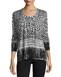 Neiman Marcus Cashmere Collection Mixed Animal Print Cashmere Cardigan