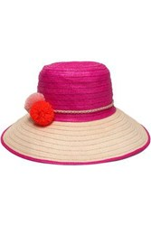 Sophie Anderson Pompom Embellished Two Tone Straw Hat Fuchsia