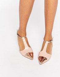 Asos Lingo Pointed Ballet Flats Nude