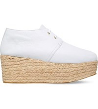 Robert Clergerie Patos Grain Leather Flatform Oxford Shoes White