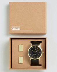Asos Watch And Cufflink Set In Black And Gold Black