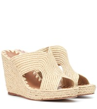 Carrie Forbes Raffia Wedge Sandals Beige