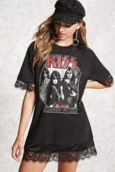 Forever 21 Kiss Graphic Longline Tee Black White