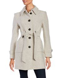Gallery Tweed Belted Coat Ivory